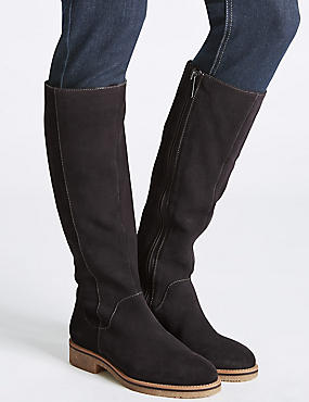Leather Block Heel Knee High Boots, GREY, catlanding