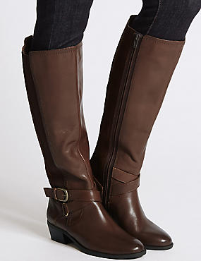 Leather Block Heel Strap Knee High Boots, CHOCOLATE, catlanding