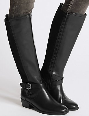 Leather Block Heel Strap Knee High Boots, BLACK, catlanding