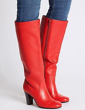 Leather Block Heel Knee High Boots , RED, catlanding