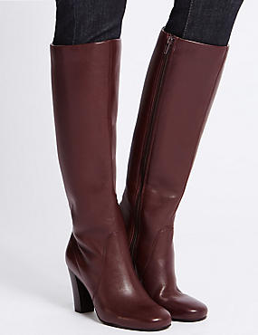 Leather Block Heel Knee High Boots , OXBLOOD, catlanding