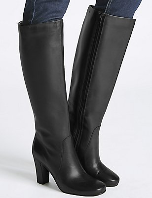 Leather Block Heel Knee High Boots , BLACK, catlanding