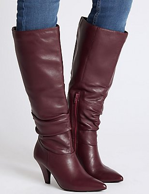 Leather Side Zip Knee Boots, BERRY, catlanding