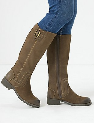 Leather Block Heel Side Zip Knee High Boots, CHOCOLATE, catlanding
