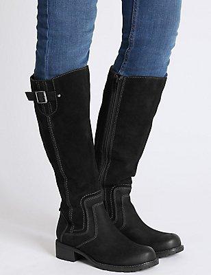 Leather Block Heel Side Zip Knee Boots, BLACK, catlanding