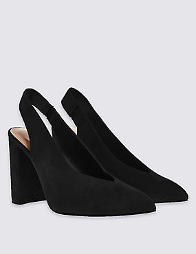 Stain Away™ Suede Sling Back Court Shoes with Insolia®, BLACK, catlanding