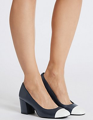 Wide Fit Leather Block Heel Court Shoes, NAVY MIX, catlanding
