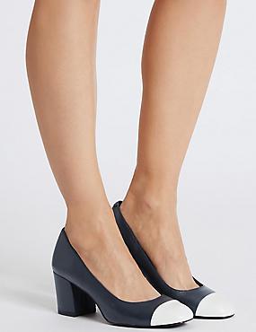 Zapatos de salón de piel con tacón en bloque de ancho especial, MEZCLA DE TONOS MARINO, catlanding