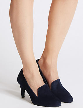 Wide Fit Suede Stiletto Court Shoes, NAVY, catlanding