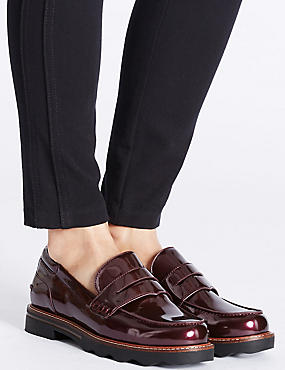 Wide Fit Cleat Sole Loafers, OXBLOOD, catlanding