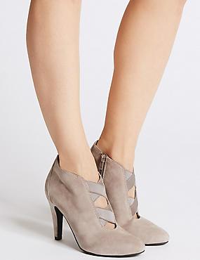 Wide Fit Leather Stiletto Heel Shoe Boots, GREY, catlanding