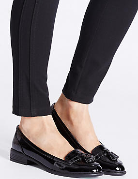 Wide Fit Leather Block Heel Tassel Loafers , BLACK PATENT, catlanding