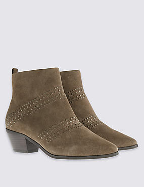 Suede Stud Ankle Boot with Insolia®, OLIVE, catlanding