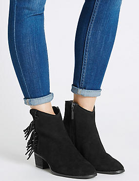 SWide Fit Suede Stain Away Fringe Ankle Boots with Insolia®, BLACK, catlanding