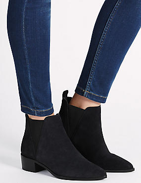 Stain Away™ Wide Fit  Suede Ankle Boots with Insolia®, NAVY, catlanding