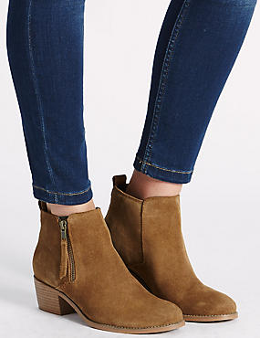 Wide Fit Suede Block Heel Zip Ankle Boots, TAN, catlanding
