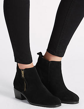 Wide Fit Suede Block Heel Zip Ankle Boots, BLACK, catlanding