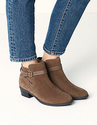Wide Fit Suede Block Heel Ankle Boots, MINK, catlanding