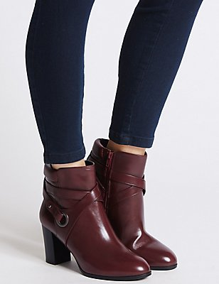 Wide Fit Leather Block Heel Ankle Boots, BERRY, catlanding