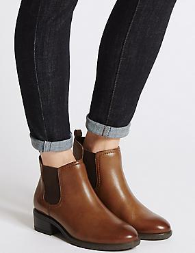 Wide Fit Leather Block Heel Ankle Boots, TAN, catlanding