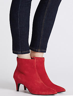 Wide Fit Leather Kitten Ankle Boots, RED, catlanding
