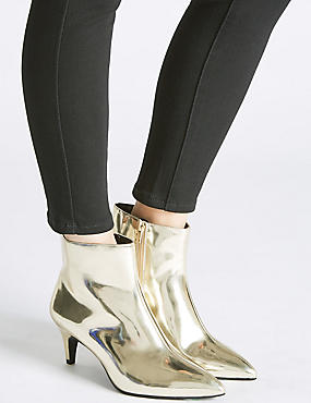 Wide Fit Leather Kitten Ankle Boots, GOLD, catlanding
