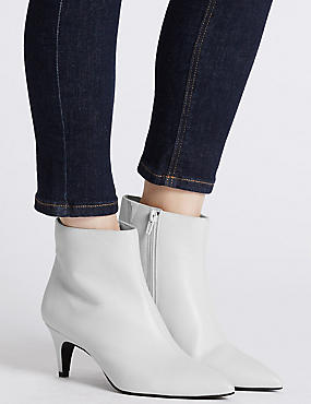 Wide Fit Leather Kitten Ankle Boots, WHITE, catlanding