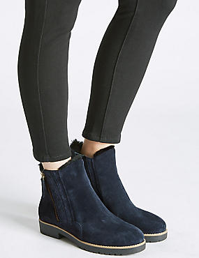 Wide Fit Suede Side Zip Fur Ankle Boots, NAVY, catlanding