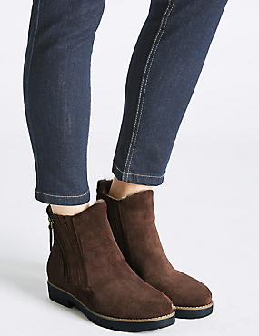 Wide Fit Suede Side Zip Fur Ankle Boots, CHOCOLATE, catlanding