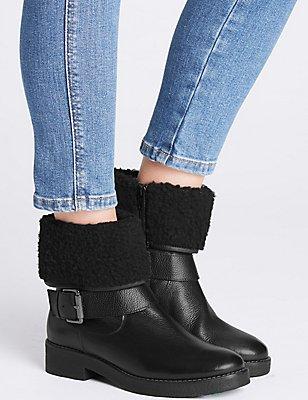 Wide Fit Leather Faux Fur Ankle Boots, BLACK, catlanding
