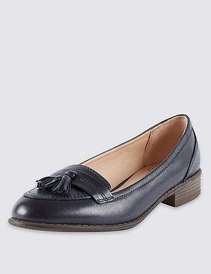 Leather Wide Fit Flat Tassel Loafers, NAVY, catlanding