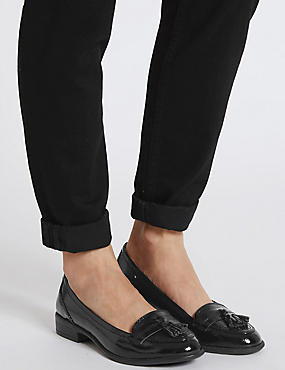 Wide Fit Leather Block Heel Tassel Loafers, BLACK PATENT, catlanding