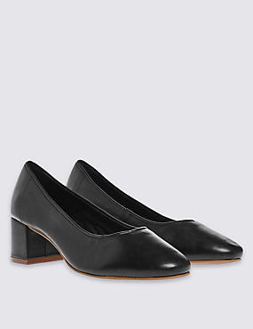 Leather Court Shoes with Insolia®, BLACK, catlanding