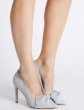 Leather Stiletto Bow Court Shoes, GREY, catlanding