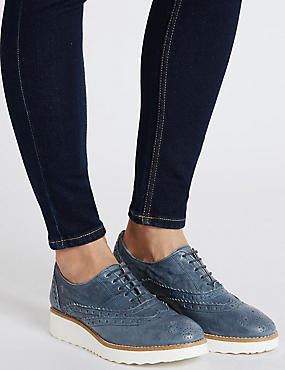 Leather Lace-up Brogue Shoes, BLUE, catlanding