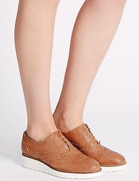 Leather Lace-up Brogue Shoes, TAN, catlanding