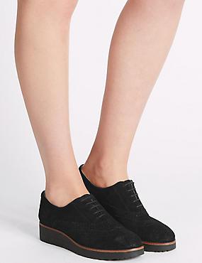 Leather Lace-up Brogue Shoes, BLACK, catlanding