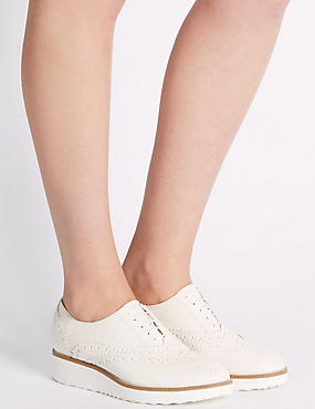 Leather Lace-up Brogue Shoes, WHITE, catlanding