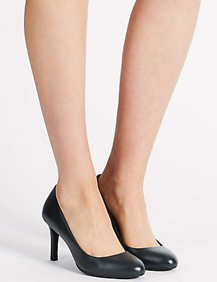 Leather Stiletto Court Shoes, NAVY, catlanding