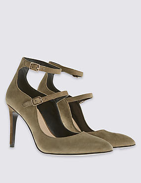 Stain Away™ Double Strap Point Court Shoes with Insolia®, KHAKI, catlanding
