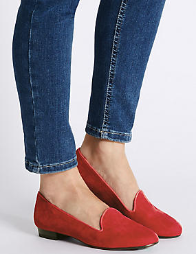 Suede Albert Pump Shoes, RED, catlanding