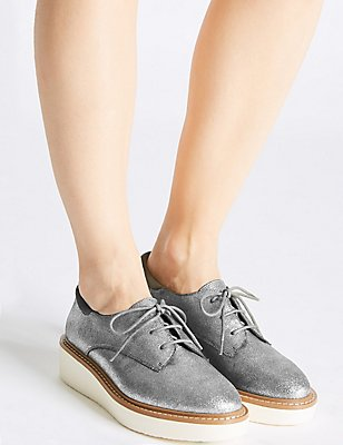 Leather Lace-up Brogue Shoes, PEWTER, catlanding