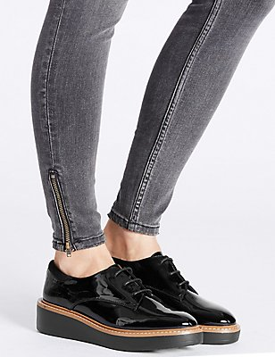 Leather Flatform Brogue Shoes, BLACK, catlanding