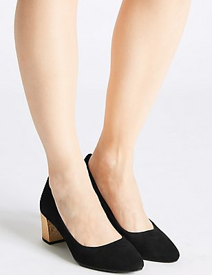 Suede Block Heel Court Shoes, BLACK, catlanding