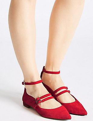 Suede Strap Pump Shoes, RED, catlanding