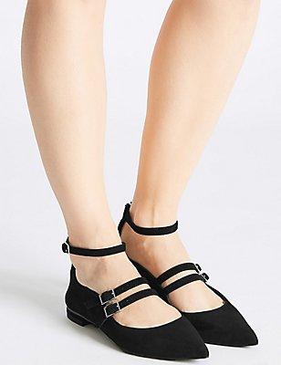 Suede Strap Pump Shoes, BLACK, catlanding