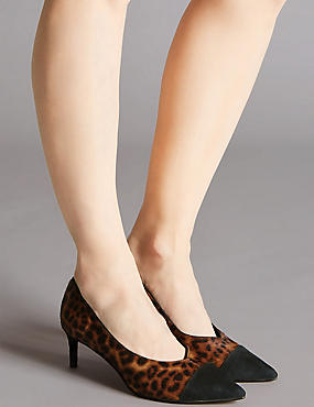 Leather Kitten Heel V-Cut Court Shoes, BROWN MIX, catlanding