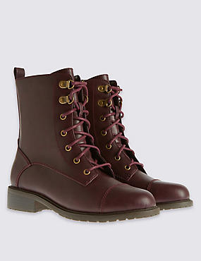 Wide Fit Lace Up Work Ankle Boots with Insolia Flex®, WINE, catlanding