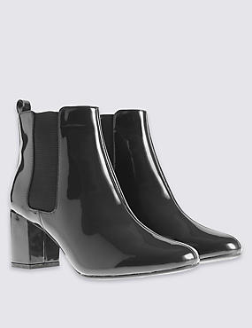 Wide Fit Chelsea Ankle Boots with Insolia®, BLACK PATENT, catlanding