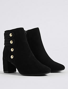Wide Fit Block Heel Four Button Ankle Boots, BLACK, catlanding
